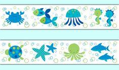Sea Life wallpaper border wall decals for baby boy ocean sea animal creatures salt water fish nursery #decampstudios