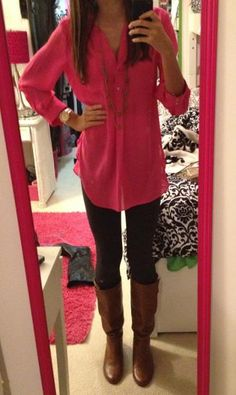 Bright button shirt, leggings, riding boots