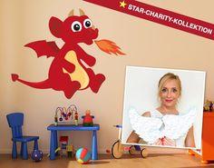 Wandtattoo Roter Drache entworfen von der Botschafterin von Kinderschutzengel e.V. Katja Desens.