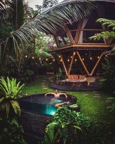 Relaxing in the pool at Hideout Beehive. Listening to the gentle movement of the stream. Could there be a better vibe? Cabana, Bamboo House Bali, Bali Getaway, Unique Hotels, Beach Shack, Forest House, Cabins And Cottages, Bali Travel, Patio