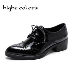 (52.13$)  Watch now - http://aie1z.worlditems.win/all/product.php?id=32775986526 - Hight Colors Fashion pointed toe genuine leather shoes thick heels oxfords pumps lacing carved brockden female student shoes