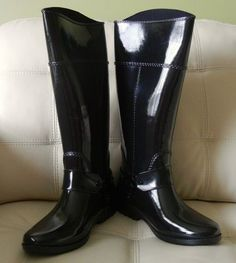 New Coach Tristee Rain Boot Dark Denim/Black Size 8M Q6533/A8444