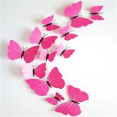 Set of Twelve 3D Butterfly Decals - 28 Varieties of Cuteness