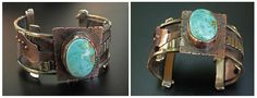 Richard Salley: Another in a series of cuffs made from scraps of copper, brass, and turquoise.