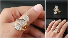 Indian bollywood traditional jewellery Gold plated finger ringButterfly design , long covers half fingerNon adjustableDiameter - 1.8 cmsFits thumb / Middle finger average size finger.