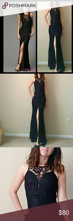 "Sexy lace formal gown, NWT Beautiful lace floor length dress from boutique line maniju. I love this gown because of the open back and low cut front. 32"" slit in the front makes this dress super sexy, while lace overlay keeps it classy and sophisticated. Gown measures just under 60"" total (for reference, I'm 5'5"" and wore 3"" heels to model). NWT, only worn to model for post. Perfect for Prom or wedding season (can ship same day in most cases!)  For Love & Lemons makes a strikingly similar…"