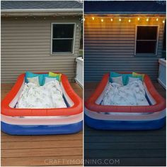 If you have an inflatable pool, take it out and fill it with the comfiest blankets and pillows you own! It is the perfect activity for night time to look up at