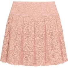 DKNY Pleated guipure lace mini skirt ($120) ❤ liked on Polyvore featuring skirts, mini skirts, bottoms, saias, gonne, pastel pink, pleated skirts, pink pleated mini skirt, lace skirt and short mini skirts