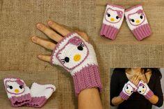 Hello Kitty Fingerless Gloves PatternCrochet Pattern by BadHatCat