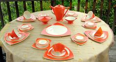 Art Deco Dinnerware for 6: Salem China in by SusabellaBrownstein