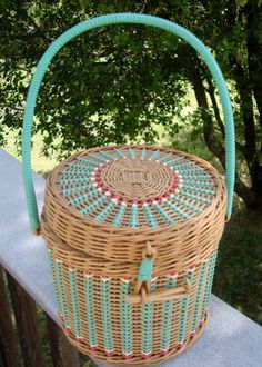 Vintage wicker lidded basket or basket purse in by ClassicCrow