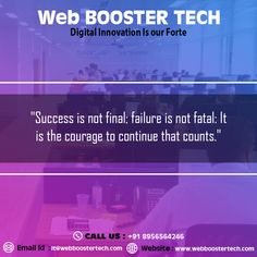 web booster tech is a website designing, web development and best digital marketing company in india providing services as per business need. Success Is Not Final, Best Digital Marketing Company, Online Business, Effort, Innovation, Web Design, Tech, Good Things, Feelings