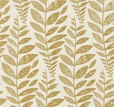 Odhni Gold (P627/10) - Designers Guild Wallpapers - A pretty flowing Batik leaf design with a vintage distressed print effect. Available in a range of colours, shown here in metallic gold on off white  colourway. Paste the wall. Please request sample for true colour match.