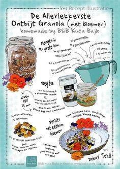 Granola recept illustratie irms. Granola voor een gezond ontbijt. Dit lekkere recept is bijzonder door de eetbare bloemen. Het is het favoriete recept van gasten van een B&B in Kroatie. Het geïllustreerde recept heeft prachtige kleuren en is makkelijk zelf thuis te maken. Probeer het ook. A Food, Good Food, Yummy Food, Cartoon Recipe, Recipe Drawing, Healthy Recepies, Healthy Grains, No Sugar Foods, Food Journal