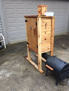 "Image 3 of 5 in forum thread ""Cedar smokehouse "" Smoke House Diy, Smoke House Plans, Backyard Smokers, Outdoor Smoker, Diy Smoker, Homemade Smoker, Wood Projects, Woodworking Projects, Wood Smokers"