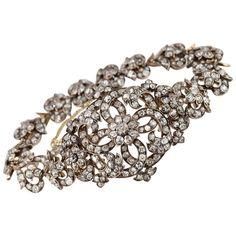 Victorian Link Bracelet with Old Mine Cut Diamonds Circa Yellow Jewelry, Royal Jewelry, Diamond Jewelry, Fine Jewelry, Jewelry Box, Diamond Bangle, Gold Jewelry, Jewelery, Gold Link Bracelet