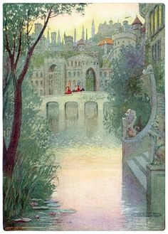A city of shadowy palaces. Maria Louise Kirk, from The story of Idylls of the king, adapted from Tennyson by Inez N. McFee, New York, 1912 Art And Illustration, Book Illustrations, Fantasy Life, Fantasy Art, Green Knight, John Everett Millais, Celtic Mythology, Roman, Fairytale Art