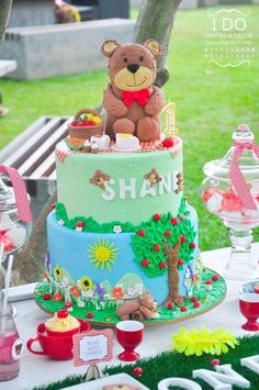 Cake from a Teddy Bear Picnic Birthday Party via Kara's Party Ideas | KarasPartyIdeas.com | The Place for All Things Party! (22)