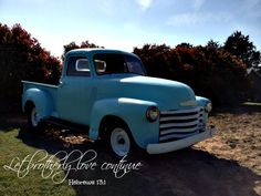 Shabby Olde Potting Shed Hebrews 13 Brotherly Love, 48 Chevy planted turquoise truck