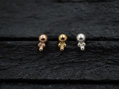 Simple plain ball with trinity balls push in bio flexible Tragus /lip labret/cartilage/helix/Monroe piercing by PiercingRoomByJay on Etsy Medusa Piercing, Body Piercing, Labret, Tragus, Monroe Piercings, Rose Gold Plates, Simple, Pearl Earrings, Jewelry