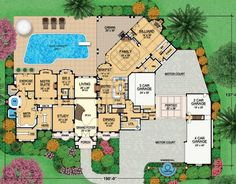 """I know how much everyone here loves floor plans, so here are two mansion plans designed by Dallas Design Group. Plan - Pictures - This plan is called """"The Dominion"""". It features approximately Luxury House Plans, Dream House Plans, Modern House Plans, Luxury Houses, Mansion Plans, Pool House Plans, Elegant Dining Room, House Layouts, Walk In Pantry"""