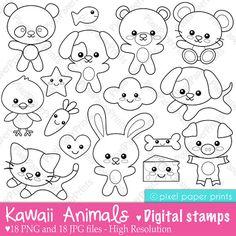 Kawaii animals - Digital Stamps