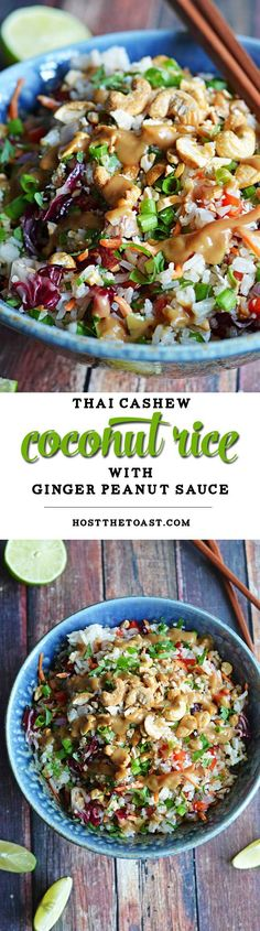 Thai Cashew Coconut Rice with Ginger Peanut Dressing. Sub maple syrup for the honey to make it vegan.