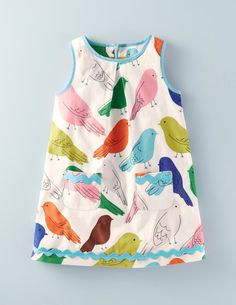 Our pure cotton cord pinafore in beautiful Boden prints with colourful trims. Add a snug t-shirt and a soft cardigan for a dinosaur day out in comfort and style.