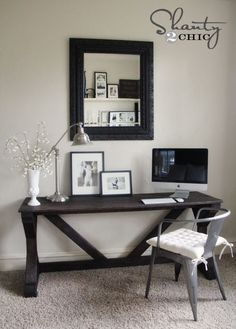 desk in bedroom..and I like the empty frame...