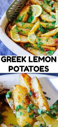 This Greek Lemon Potatoes recipe uses the best russet Idaho®️️ Potatoes tha. This Greek Lemon Potatoes recipe uses the best russet Idaho®️️ Potatoes that are roasted in a very flavorful liquid made Potato Sides, Potato Side Dishes, Greek Side Dishes, Chicken Side Dishes, Side Dishes For Chicken, Side Dishes With Steak, Easter Side Dishes, Dinner Side Dishes, Holiday Side Dishes
