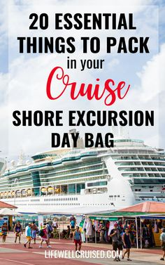 Cruise shore excursions require packing a special day bag. This article shares 20 things you'll want to pack for your excursion, whether it's going to be a beach day, sightseeing, or even a snorkeling or boating activity. #cruise #cruisetips #cruising #packingtips Cruise Packing Tips, Cruise Travel, Cruise Vacation, Vacation Ideas, Bahamas Cruise, Cruise Port, Caribbean Cruise, Cruise Ship Reviews, Best Cruise Ships