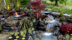 garden and landscape design with fireplace and water feature - Google Search