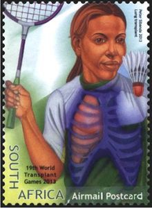 Stamp: Lung Transplant, Badminton (South Africa) (World Transplant Games) Mi:ZA 2219 Badminton, Lunges, Baseball Cards, Postage Stamps, World, Sports, Hs Sports, Stamps, Sport