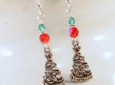 Christmas Tree Earrings Christmas Beaded Earrings. by CKDesignsUS