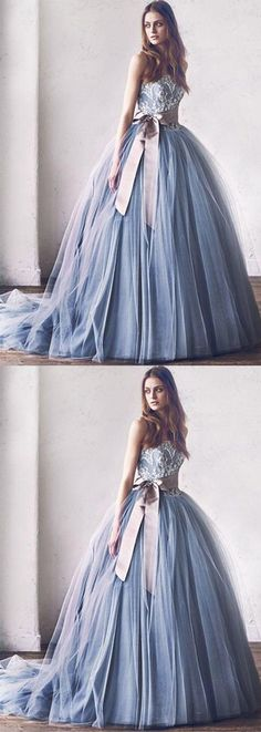 princess a-line blue tulle long prom/evening dress #prom #promdress #promdresses #eveningdress #eveningdresses