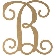 """12"""" Wood Letter Vine Monogram: B"""