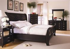 New Black Sleigh Bed Master Bedroom Furniture Set: Queen Bed, Dresser, Mirror, 2 Night Stands by eWay Furniture, http://www.amazon.com/dp/B000PB0SEC/ref=cm_sw_r_pi_dp_uwKWqb1VK8AT0