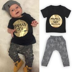 2pcs Newborn Toddler Kids Baby Boys Clothes T-shirt Tops+Long Pants Outfits Sets #Unbranded #DressyEverydayHoliday