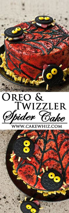 Fun Halloween cake decorated with Oreo spiders and Twizzler spiderweb. So easy that even kids can help out! From cakewhiz.com