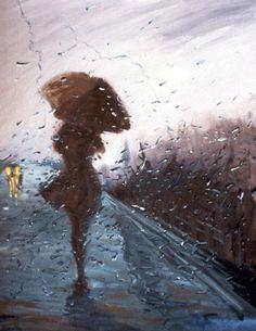 Llueve.  Es el otoño  la marca de los días grises    Historias con olor a humedad  MI paraguas no me cubre de los días aciagos.    La tristeza se instala  aunque peleo como un titán  Me nombrás  llovizna y es una afrenta a mi buen nombre.    Derruida la estación de trenes  pletóricas de imágenes deslucidas  mi país de desencanto  Mil nieblas no podrán  con tamaña resistencia.