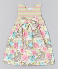 Look at this Pink & Green Lovely Birds Dress - Infant, Toddler & Girls on #zulily today!