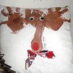Hand & foot print reindeer pillow