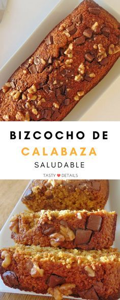 Bizcocho de calabaza saludable - Healthy Eating İdeas For Exercise Sweet Desserts, Healthy Desserts, Sweet Recipes, Real Food Recipes, Delicious Desserts, Cake Recipes, Dessert Recipes, Cooking Recipes, Yummy Food