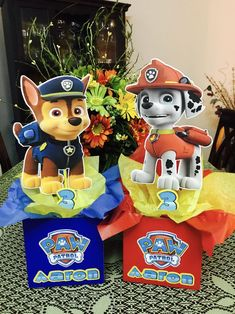 Paw patrol double side Centerpieces any character available name and age add with no extra charge convo me with any question Thank you!sold by each Paw Patrol Birthday Decorations, Paw Patrol Birthday Theme, 4th Birthday Parties, Boy Birthday, Cumple Paw Patrol, Paw Patrol Cake, Panda, Firetruck, Babyshower