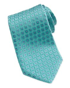 Shadow Square Pattern Tie, Aqua/Pink by Charvet at Bergdorf Goodman.