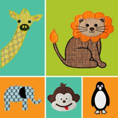 Zoo Animals Applique Patterns | YouCanMakeThis.com