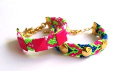 Neon Friendship Bracelet with Hot Pink Studs by makunaima on Etsy, $16.90 -cute idea for party favors!