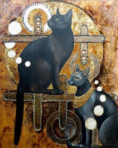 Bright eyed children of Bastet. Oilpaint on gold,copper and silver leaf cat artwork Bastet Goddess, Egyptian Cat Goddess, Egyptian Cats, Happy Friday The 13th, Ancient Egypt Art, Image Hd, Images Gif, Deities, Cat Art