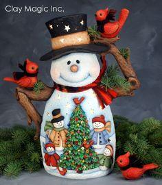 Resultado de imagen para clay magic inc catalog view Polymer Clay Christmas, Ceramic Christmas Trees, Felt Christmas, Christmas Snowman, Christmas Time, Christmas Crafts, Christmas Decorations, Holiday Decor, Christmas Paintings