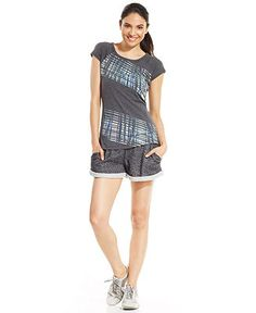 Ideology Graphic-Print Tee & Marled-Knit Shorts - Women - Macy's